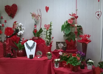 Vitrine de fleurs pour la Saint Valentin
