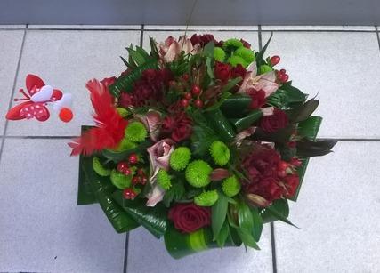 Composition de fleurs pour Saint Valentin